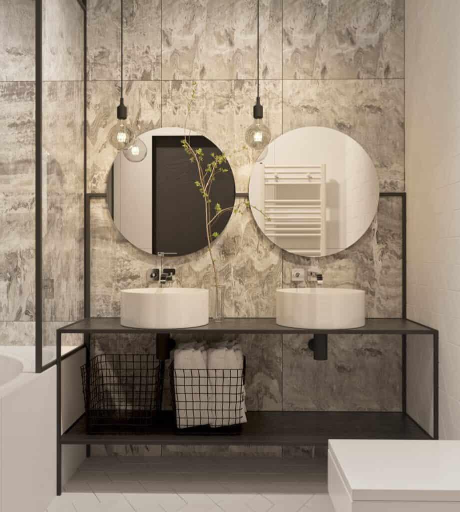 กระจกห้องน้ำทรงกลม